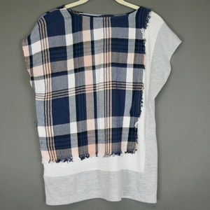Anthropologie Blue and Pink Plaid T-shirt Top